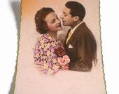 1930s Romantic French Tinted Postcard . Romantic Postcard . Vintage French Postcard . JC Paris .