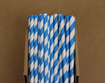 25 blue striped paper straws (PS0012) - true blue Party straw