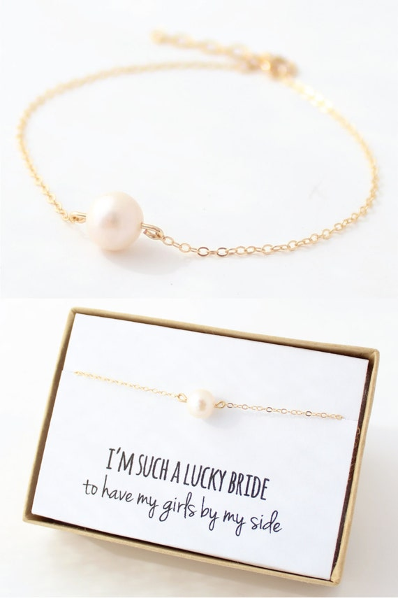 pearl gold bridsmaid bracelet