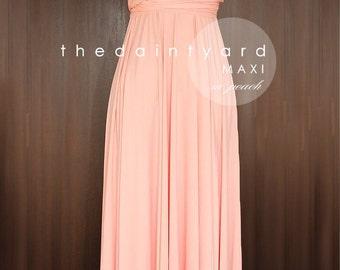 Long peach dress etsy maxi peach bridesmaid dress convertible dress infinity dress multiway dress wrap dress wedding dress full length junglespirit Gallery