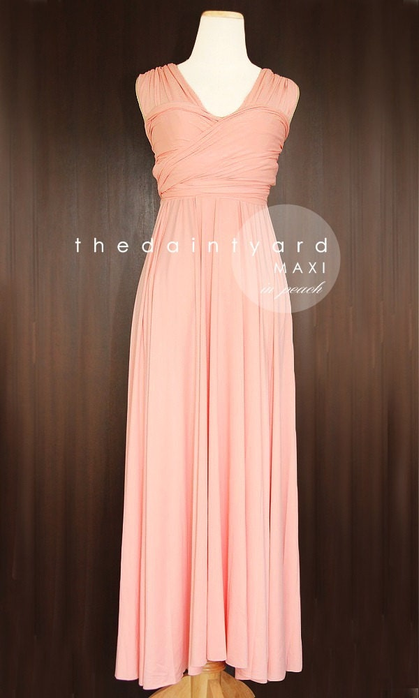 Maxi Peach Bridesmaid Dress Convertible Dress Infinity Dress