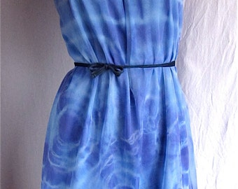 Tie Dye Dress Upcycled Vintage Nightgown SMALL Hand Dyed Hippie Boho Sundress Beach Cover Festival Bridal Pin Up Lingerie Blue Chiffon Nylon