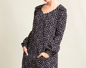 Black and white shirt dress , Black dress long sleeve , Polka dot dress , Loose dress , Collar dress , Oversize dress , Dress with pockets
