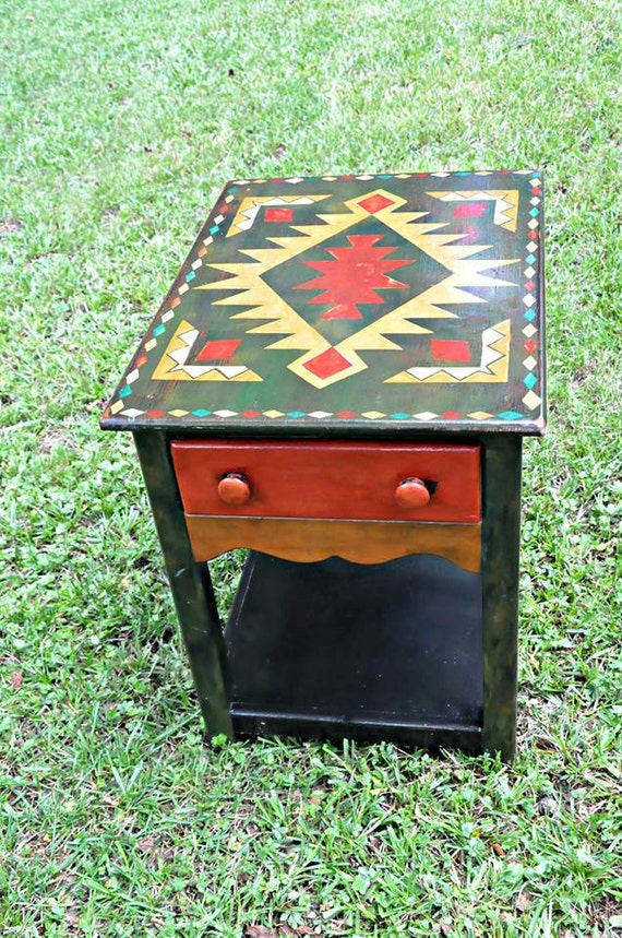 Items similar to tribal end tables native american design for Native american furniture designs