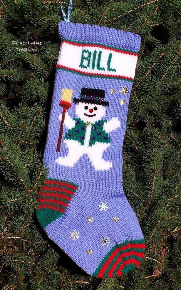 Christmas Stocking Knitting Pattern Circular Needles : Snowman Christmas Stocking Hand Knitting Pattern No. 113