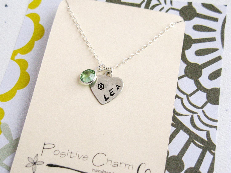 children 39 s name necklace child birthstone by positivecharm. Black Bedroom Furniture Sets. Home Design Ideas