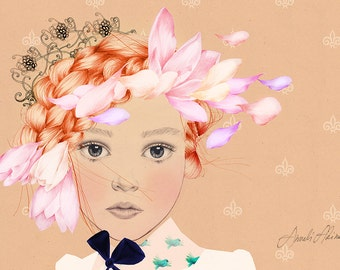 Fashion illustration girl with flowers and tiara drawing giclee print