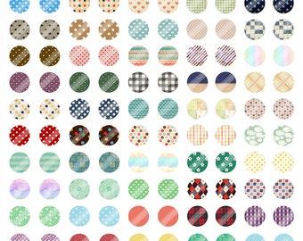 Vintage Polka Dot Earring Digital Collage Sheet,BD01 Cartoon Printable Download,12mm Circle Round Image,Cabochon,Rainbow,Bottle Cap,Clip Art