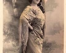 ON SALE 20% OFF Vintage French Actress Postcard .Actress Bahia by Reutlinger Studio Paris