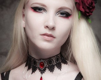 Steampunk gothic lace choker Ruby red necklace crystal drop and elegant draped chains - SINISTRA - FEATURED in Devolution magazine