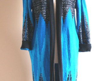 Shades of Blue and Black Sparkly Chevron Sweater Coat