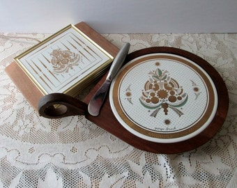 Vintage Georges Briard round handle platter cheese tray and electric hot plate signed peace doves home decor dining oeuvdres hot platter