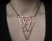 Bronze Geometric Necklace - Art Deco Revival Necklace - Tri Geometric - handmade bronze jewelry - gift for her- handmade in Austin, Tx
