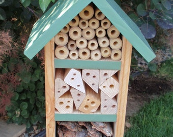 Handmade Beneficial Bug Box - Solitary Bee House, All Natural Insect Box, Insect Habitat, Persnickety Bug House - Sage Green Garden Decor