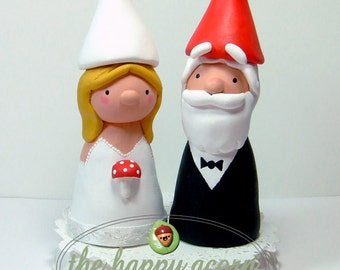 Gnomes Wedding Cake Topper READY TO SHIP - by The Happy Acorn