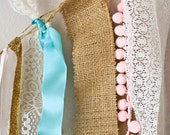 Monogram Glitter Lace and Burlap Baby Banner/ Garland- Pink, Turquoise, Gold and Ivory