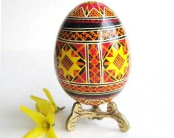 Yellow and RED Pysanka, Ukrainian Easter egg, batik decorated chicken egg,  Pysanky