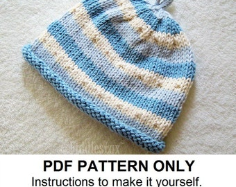 Baby Hat Knitting Pattern - Baby Boys Hat Pattern - the BEN beanie (Newborn, Baby, Toddler, Child & Adult sizes incl'd)