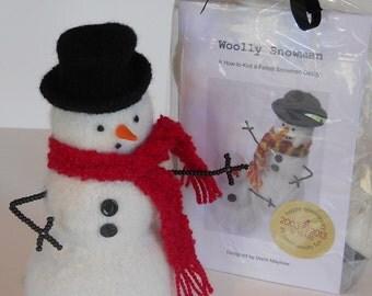 KIT-PATTERN. Wool Snowman Pattern and Materials Kit.