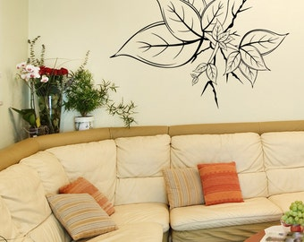Vinyl Wall Decal Sticker Leaves Growing Out of Wall 1210m