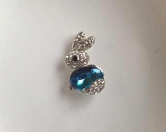 1 - Cute Silver Plated Bunny Pendant with a Large Blue Crystal and Rhinestones, Blue Crystal Bunny Pendant - Rodium Plated