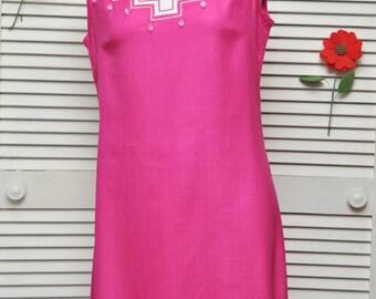 Vintage Women's 60s Linen Dress/Color Block/Designer Susan Thomas/Fuscia White/Drop Beaded Bodice A Line/Carl Gay/Sleeveless Hot Pink Medium