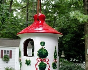 Hanging Ceramic Bird Feeder For Small Birds with Topiary Trees