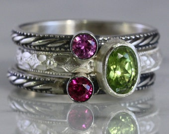 3 Gemstones, Oval and round gems, Birthstone Stacking Ring Set, Family & Mother's Rings, Gemstones, Sterling Silver, custom made