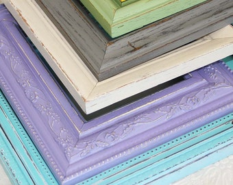 One 10x13 Shabby Chic Vintage Hand Painted Distressed Frame Made to Order