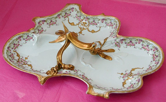 Reduced Price Antique Beautiful FRENCH HAND DECORATED Tray Late 1800s Unusual Very Ornate 3 Compartments Heavy Encrusted Gold Trim n Accents