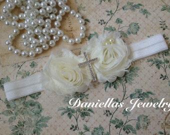 Cross Baptism Vintage Headband/Ivory Headband /baby Girl Headband /Headband /photo prop