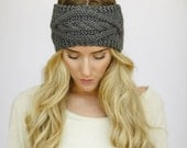 Best Selling Knitted Headband, Exclusive, Fall Fashion Accessory, Turband, Cozy, Pinterest Favorite, Cable Knit Ear Warmer in Gray (HB-139)