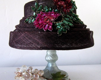 Purple Straw Hat, Purple Hat, Sequin Flowers, Straw Hat, 60's Hat, Kentucky Derby Hat, Summer Straw Hat, Sequin Hat, Floral Hat, fancy hat