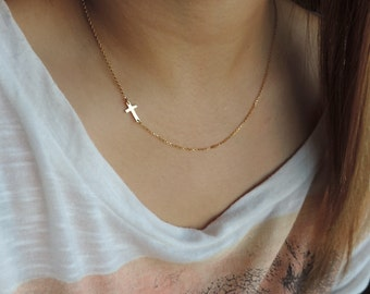 Sideways Cross Gold Necklace • Mini Sideways Cross in center • Religious Celebrity Necklace Kelly Ripa Taylor Jacobson JLo Gift for Her