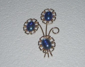 Vintage Blue and Gold Tone Flower Pin Brooch