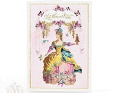 Marie Antoinette, Let them eat Cake, card, pink roses, French, vintage style, birthday card,  high tea, tea party, pink, pastels, blank card