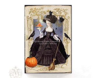 Halloween cards, Halloween witch, Halloween Invitations, Marie Antoinette, crow, black, pumpkin, black cat, broomstick, bat, Halloween decor