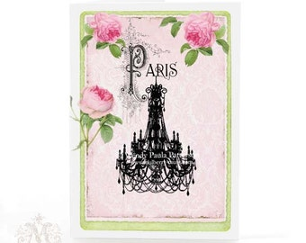 French vintage chandelier greeting card, blank inside