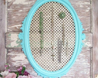 Upcycled Ornate Vintage Italian Frame turned Jewelry Holder Display Organizer Aqua Turquoise