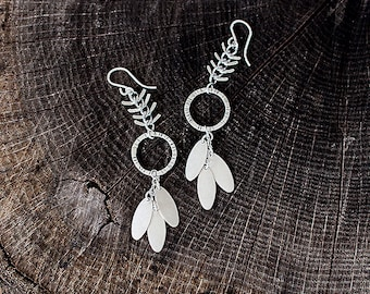 Boho/Tribal Hybrid Earrings - Chevron Fish Bone Chain and Silver Hoop Earrings by Prairieoats