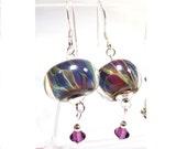 Sterling Silver Lampwork Earrings, Blue Swirl, Amethyst Swarovski Crystal, Boro Bead, Dangle Earrings, .925 Sterling, SRAJD, Fashionable