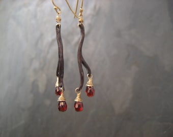 Branch earrings with garnet drops - solid sterling silver