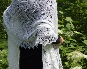 White queen Silvia hand knitted merino wool estonian lace wedding stole shawl by Kailill