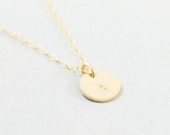 Personalized necklace - 14k gold filled initial necklace gold filled jewelry engraved tiny charm letter for bridesmaid