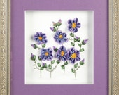 Silk Ribbon Embroidery Framed - Violets - Wall Art - Wall Decor