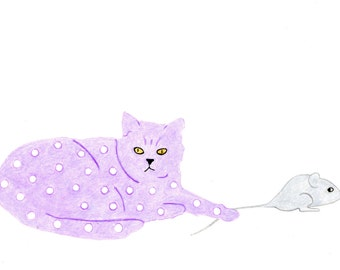 Cat Gift Cards - Lilac Spotted Cat with Mouse - Set of 4