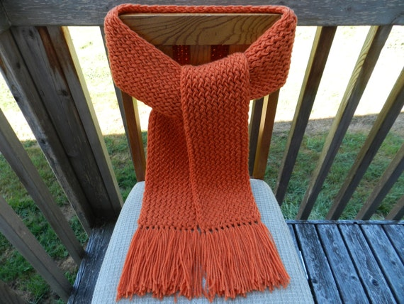 Knitting Loom Scarf Fringe : Winter Scarf Knit Scarf Orange Knit Scarf Loom by yarnworksandmore