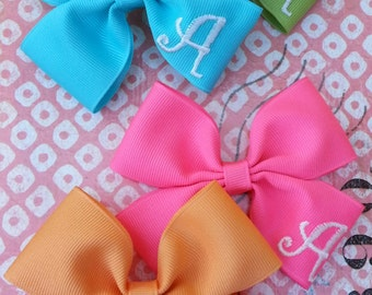 Embroidered Hair Bow with Initial