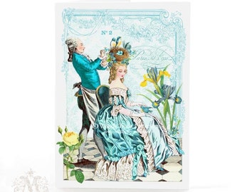 Marie Antoinette card, Birthday card, Easter card, friendship card, card for her, blank all occasion card