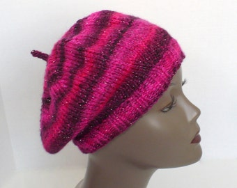 Hot Pink Slouchy Tam, Raspberry Beret, Hand Knit Hat, Striped Pink Artist Beanie, Hats for Women, Handmade in the USA, Ready to Ship